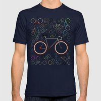Love Fixie Road Bike Mens Fitted Tee Navy SMALL