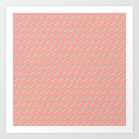 80's Pastel Stripes on Pink  /// www.pencilmeinstationery.com Art Print