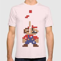 Super Mario Tetris Mens Fitted Tee Light Pink SMALL