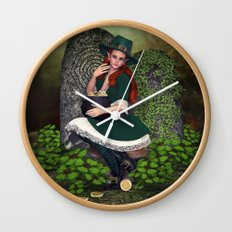 Leprechaun Lass Wall Clock