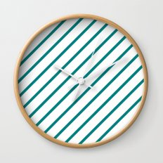 Diagonal Lines (Teal/White) Wall Clock