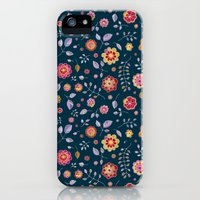 iPhone 5s & iPhone 5 Cases featuring Teal and Brights Flower Pattern Design by micklyn