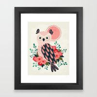 Owl And Blossoms Framed Art Print