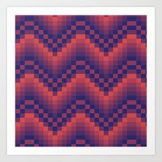 Pixelated Chevron Art Print