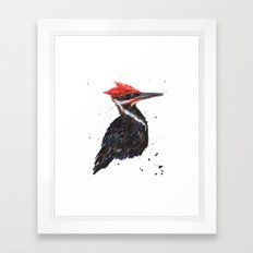 Woodpecker painting, bird paintings, bird lover gift, pileated woodpecker Framed Art Print