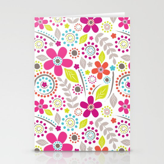 Inky Floral Stationery Card