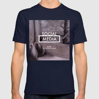 Social Media Mens Fitted Tee Navy SMALL
