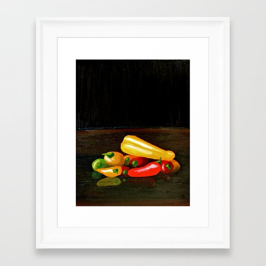 Peppers From a Friend, the painting Framed Art Print