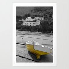 little yellow boat Art Print