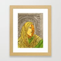 Woman in Yellow Scarf Framed Art Print