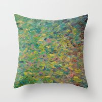 FIELDS OF BLUE - WOW Modern Abstract Shades of Blue and Green in Nature Theme Grass Waves Throw Pillow