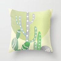 BOHO CACTUS IN MINT Throw Pillow