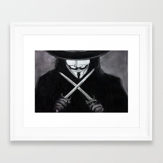 V for Vendetta  (by Esin )5 Framed Art Print