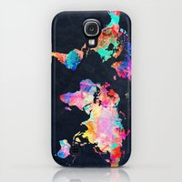 Galaxy S4 Cases featuring World map by Bekim ART