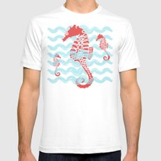 Beachy Seahorses Dancing in the Waves White Mens Fitted Tee SMALL