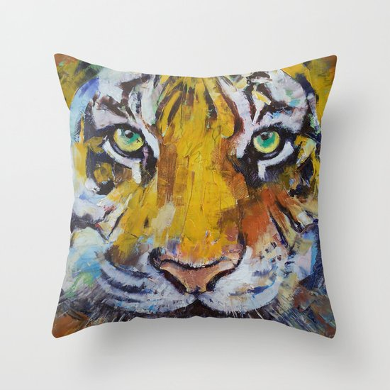 Tiger Psy Trance Throw Pillow