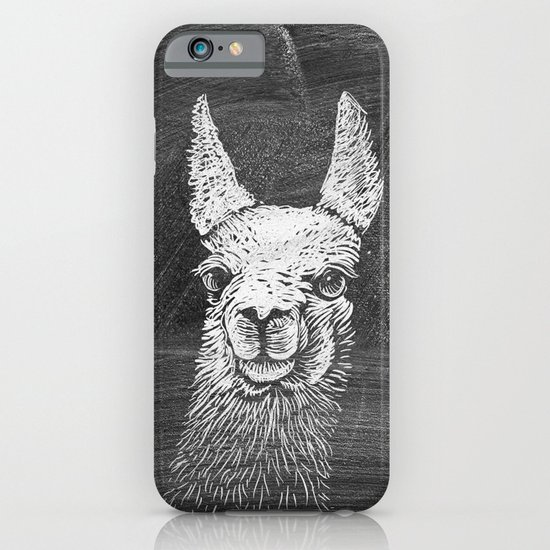 Black White Vintage Funny Llama Animal Art Drawing iPhone & iPod Case