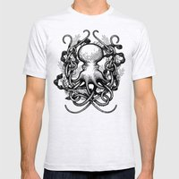 Octupus and COral (Black and White) Mens Fitted Tee Ash Grey SMALL