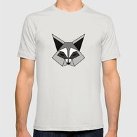 Raccoon Mens Fitted Tee Silver SMALL