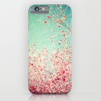 iPhone & iPod Case featuring Blue Autumn, Pink leafs on blue, turquoise, green, aqua sky by AC Photography