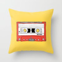 Cassette Tape // yellow and red // large Throw Pillow