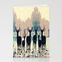 Deer In The Snowy Forest Stationery Cards