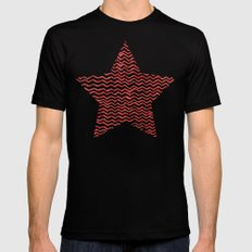 Red Wavy Chevrons Mens Fitted Tee Black SMALL