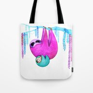 Tote Bag featuring Sloths by Annya Kai
