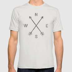 Compass (Natural) Mens Fitted Tee Silver SMALL