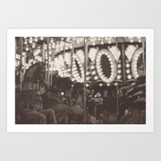 Fuzzy Carousel - B&W Art Print