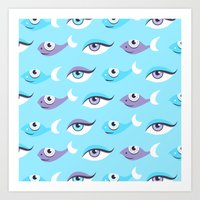 Pattern Of Eyes And Fish… Art Print
