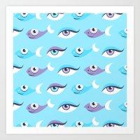 Pattern Of Eyes And Fish… Art Print