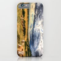 iPhone Cases featuring The Resting Cows by David Pyatt