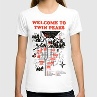 map T-shirts featuring Twin Peaks Map by Robert Farkas