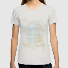 Cat Smelling Flower Womens Fitted Tee Silver SMALL