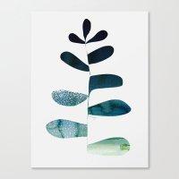Aqua Ombre Plant Canvas Print