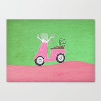 Enjoy The Ride Vespa Canvas Print