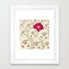 Sheep Pattern   Pink Framed Art Print