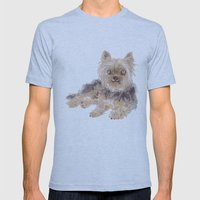 Yorkshire Terrier Mens Fitted Tee Athletic Blue SMALL