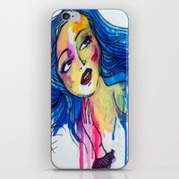 blue haired girl iPhone & iPod Skin