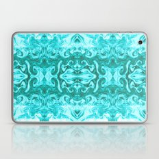 Bonshu - spilled ink turquoise marble painting abstract japanese water wave marbled sea Laptop & iPad Skin