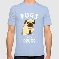 Pugs Not Drugs Mens Fitted Tee Tri-Blue MEDIUM