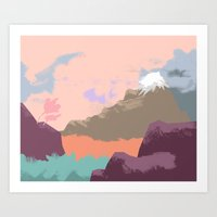 Pink Sky Mountain Art Print