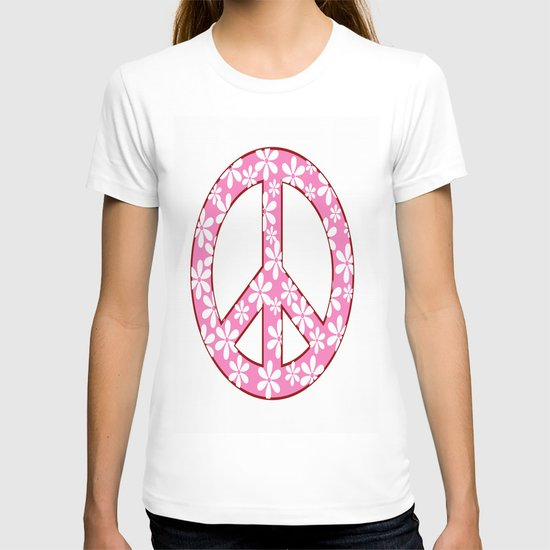 Peace Sign With Flowers In Pink T-shirt