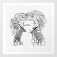 Lovers And Dream Art Print