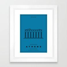Minimal Athens City Poster Framed Art Print