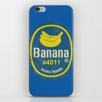 Banana Sticker On Blue iPhone & iPod Skin