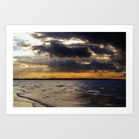 Sunbeams above the sea Art Print
