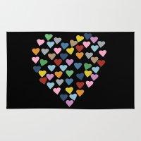 Hearts Heart Black Rug