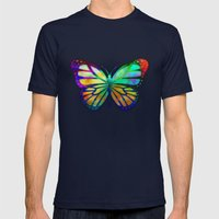 Vivid Butterfly Mens Fitted Tee Navy SMALL